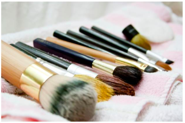 skin care, makeup and brushes